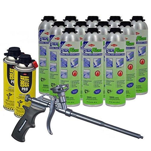 Dow Enerfoam 30oz Gun Dispensed Foam (12) + AWF Teflon Pro Foam Gun (1) + Great Stuff Pro foam Gun Cleaner (2) by Great Stuff