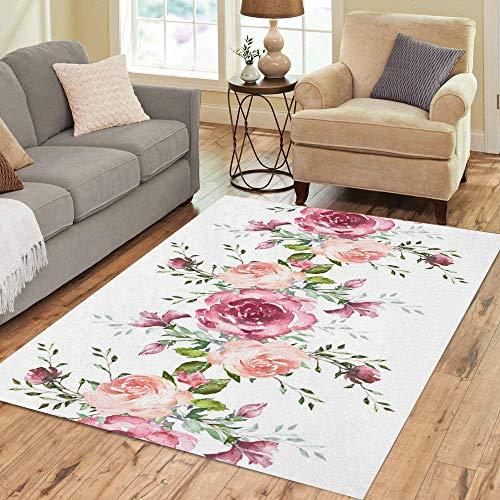 Pinbeam Area Rug Border Pink Flowers Leaves Vintage Watercolor Floral Pattern Home Decor Floor Rug 5' x 7' Carpet