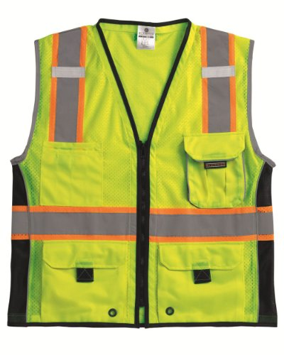 ML Kishigo 1513 Ultra-Cool Polyester Black Series Heavy Duty Vest, 3X-Large, Lime