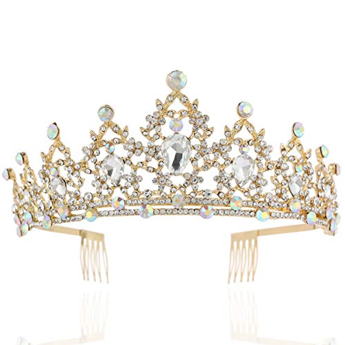 BABEYOND Vintage Crystal Queen Crown Prom Pageant Quinceanera Crown Tiara Rhinestone Wedding Princess Tiara Headband with Comb Pin (Gold-1)