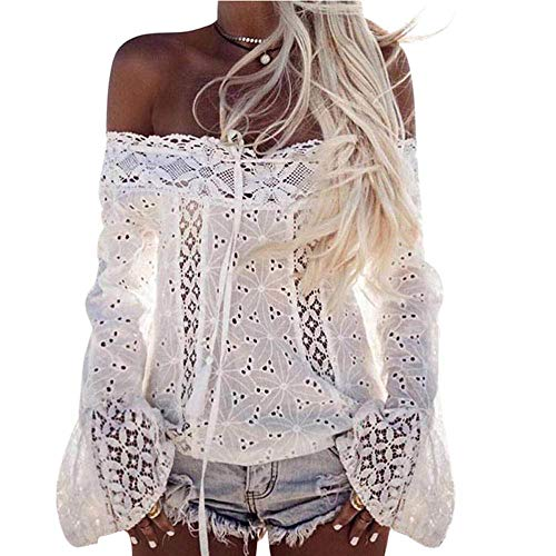 Women Plus Size Sexy Off Shoulder Long Sleeve Lace Hollow Out Blouse Top T-Shirt(White,medium) (Hot Topic Corset)