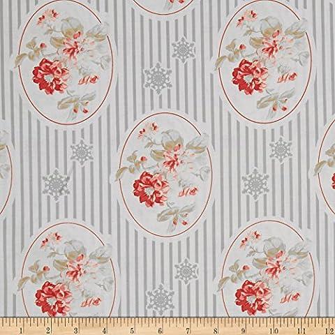 Tanya Whelan Winter Garden Cameo Silver Fabric By The Yard - Cameo Garden