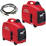 Honda Power Equipment (2) EU1000I 1000W 120V Gas Generators with Parallel Cord