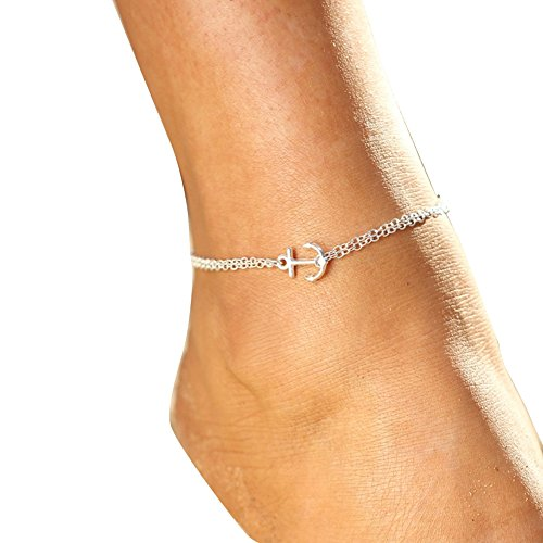 Fengzhicai Lady Boho Double Layers Anchor Charm Barefoot Sandal Foot Anklet Ankle Bracelet - Silver Ladies Fashion Anklets