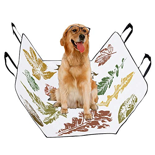 XINGCHENSS Fashion Oxford Pet Car Seat Abstract Background Maple Leaf Aspen Leaf Pumpkin Autumn Design Waterproof Nonslip Canine Pet Dog Bed Hammock Convertible for Cars Trucks SUV