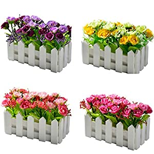 Wooden Fence Bonsai Artificial Diamond Rose Flowers with Vase Set Potted Fake Flower Desktop Plants Home Decoration 106