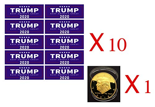 Encapsulated Base (1 Trump Coin &10 Pack Donald Trump President Keep America Great 2020 MAGA Decal Bumper Sticker)