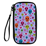 Bigcardesigns Skull Digital Print Passport Holder Travel Wallet & Wrist Strap
