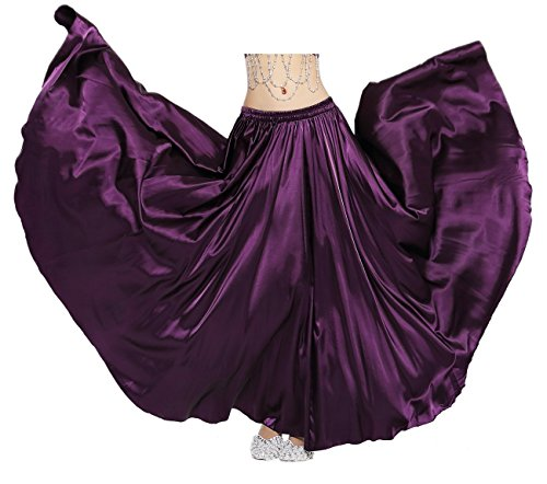 Dance Fairy Belly Dance Satin Long Skirt,Purple