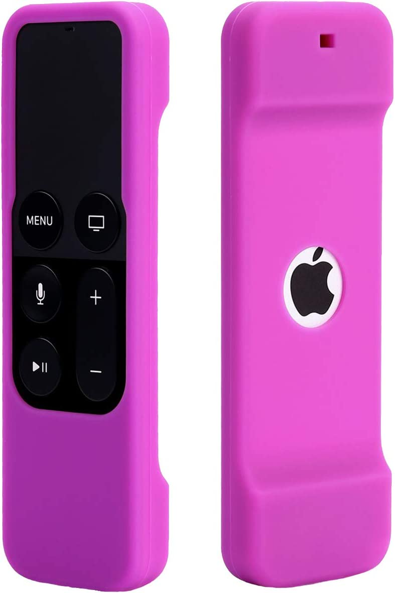 Remote Case Compatible with Apple TV 4K 4th 5th Generation, HJYuan Shock Proof Silicone Remote Cover Case Compatible with Apple TV 4th 5th Gen Siri Remote Controller - Purple