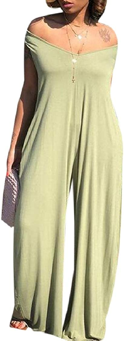 pipigo Women Sleeveless V-Neck Hoodie Solid Wide Leg Jumpsuit Romper with Pockets