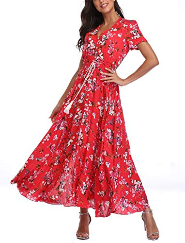 V fashion Women's Floral Maxi Dress Button Up Split Summer Boho Long Beach Dress