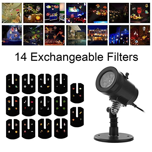 YMING Holiday Projector Lights, 14 Patterns Waterproof Decorative Landscape Lamp Rotating Indoor Outdoor Kaleidoscope Spotlight Light Show for Patio Party Bar Wedding Living Room Garden by YMing