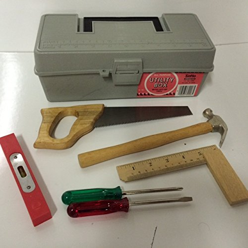 Gray Tool Box Starter Kit for Children Kids 1st Tool Set (Woodworking Tools For Kids compare prices)