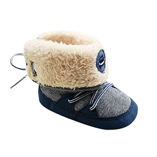 Weixinbuy Baby Boy Lace Up Stripe Soft Bottom Winter Snow Boots