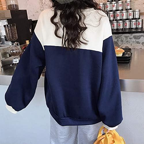 WDDGPZ1 Sweatshirt Hoodies Frauen Oansatz Langarm Trendy Patchwork Lose Harajuku Dicker Winter Pullover Studenten Ulzzang Kleidung blue