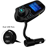 FM Transmitter Bluetooth, Erode Wireless In-Car Radio Hands-free Car Kit with 1.44 Inch Display,Quick Charge 3.0 and Smart Dual USB Ports Car Charger, AUX Input/Output, TF Card Slot
