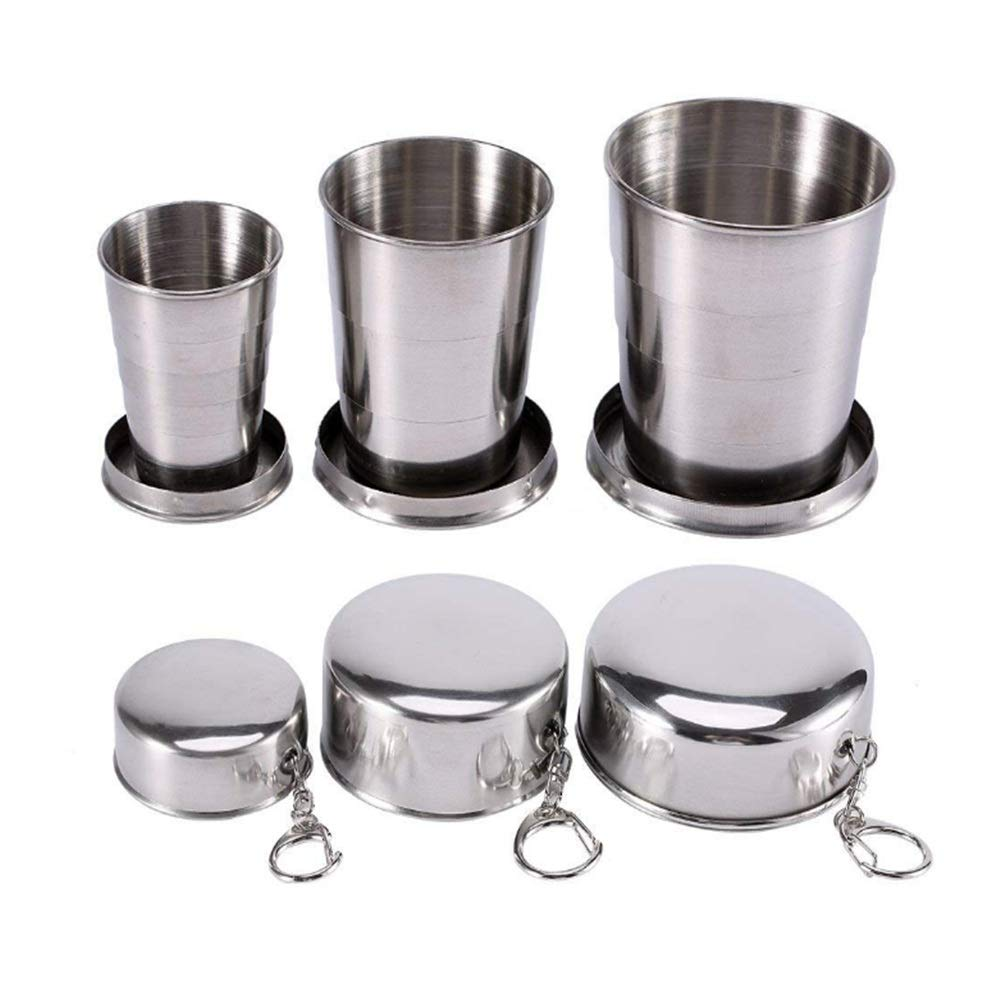 Silver 3-Piece Collapsable Cup Stainless Steel Portable Alloy Telescopic Keychain Cup Outdoor Travel Camping Camping Supplies