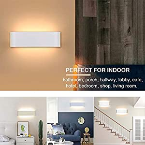 LED Wall Lights Indoor,2 Pcs Up Down Wall Light 12W Modern Style Perfect for Bedroom Living Room Hallway Corridor Stairs Warm White