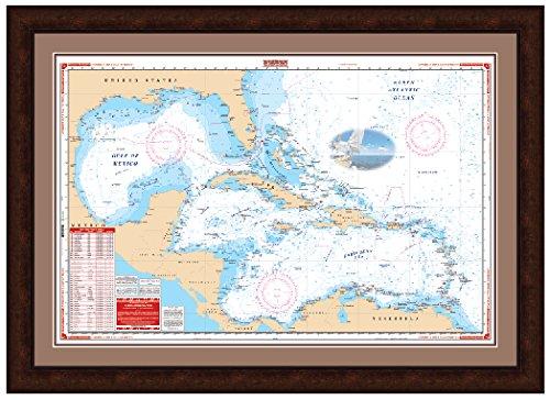 Caribbean Gulf of Mexico Florida Framed Chart -