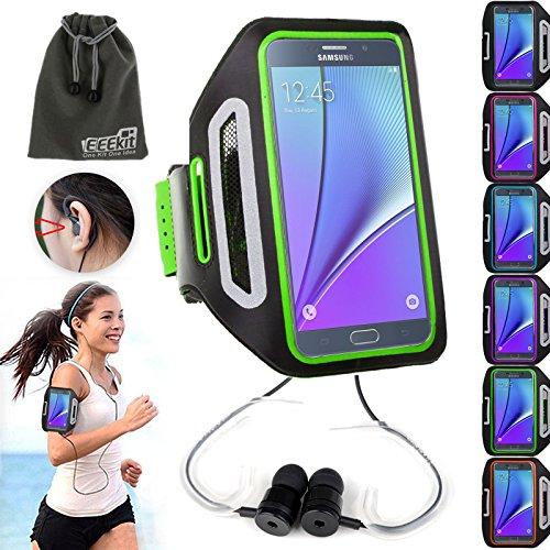EEEKit Sports Armband Gym Running Jogging Case w/ Earphone Slot Key Holder + Earphone W/ Ear Hook for Samsung Galaxy J7/Note 5/4/S6/S7 Edge Plus,BLU R1 HD,BLU Advance 5.0,Moto G
