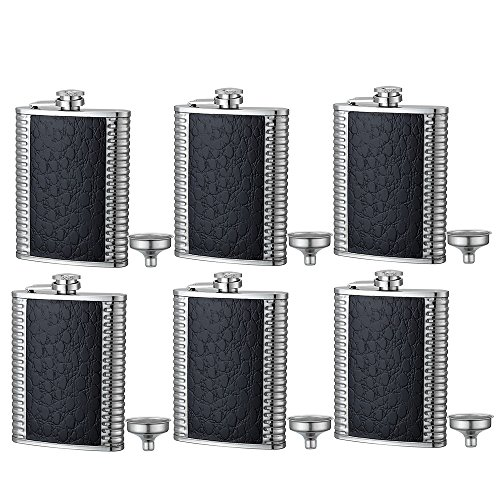 6 Pcs Pocket Hip Flask 8 Oz with Funnel, 100% Leak Proof Stainless Steel with Leather Wrapped Cover