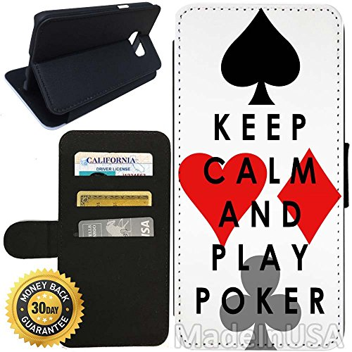Flip Wallet Case for Galaxy S7 (Keep Calm Play Poker) with Adjustable Stand and 3 Card Holders | Shock Protection | Lightweight | Includes Stylus Pen by - Poker Glasses Reviews