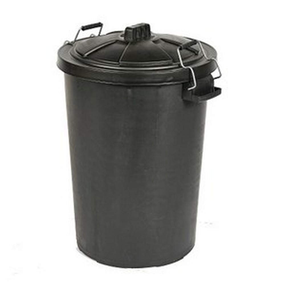 Saddlers Heavy Duty Dustbin and Metal Clip Lid (18.6 Gallons) (Black) by Saddlers