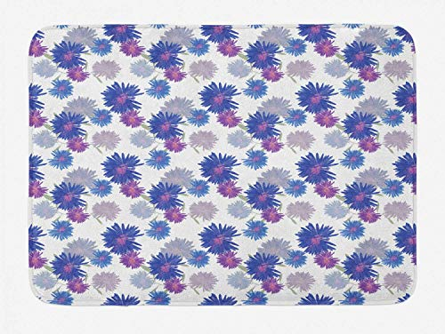 YVSXO Aster Bath Mat, Michaelmas Daisy Pattern with Blossoming Flowers Nature Growth Composition, Plush Bathroom Decor Mat with Non Slip Backing, 23.6 W X 15.7 L Inches, Grey Navy Blue ()