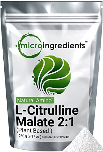 Micro Ingredients Plant-Based Pure L-Citrulline Malate 2:1 Powder, 260 grams