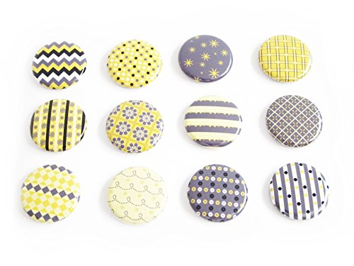 Yellow 1 inch Flat Back Buttons (Rain or Shine - 12 (Yellow Butterfly Button)