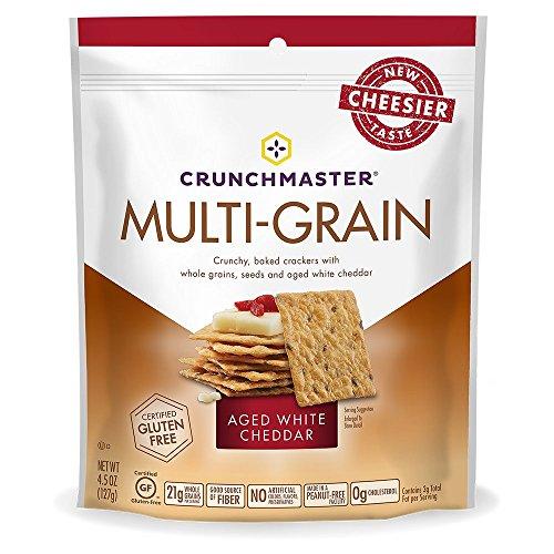 Crunchmaster Multi-Grain Crackers Gluten Free Non GMO, White Cheddar, 4.5 oz (1 Pack)- The Perfect Healthy Snack Cracker