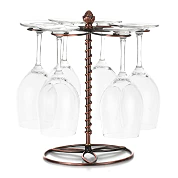 ... Copas de Vino Rack Portavasos Champagne Cristal Que Cuelga Soporte Vasos Almacenamiento Sobremesa Mesa Organizador Metal Barra Cocina: Amazon.es: Hogar