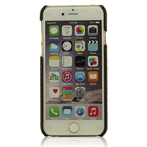 Metallo Anello Design Titolare Funktion, Rigida Dura iPhone 6S / 6 Custodia, Case Cover per iPhone 6 / 6S 4.7 Pollici, Animale Pelle Grano Leone Aspetto + Bella Pendente - Marrone