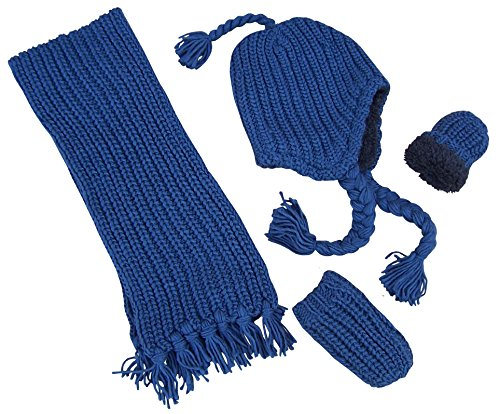 Price comparison product image N'Ice Caps Big and Little Kids Unisex Bulky Waffle Stitch 3PC Accessory Set (6-18 Months, Navy Infant)