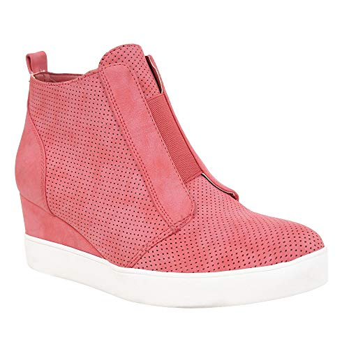 Womens Wedge Sneakers Penny Mid Heel Pump High Top Laser Cut Side Zip Booties