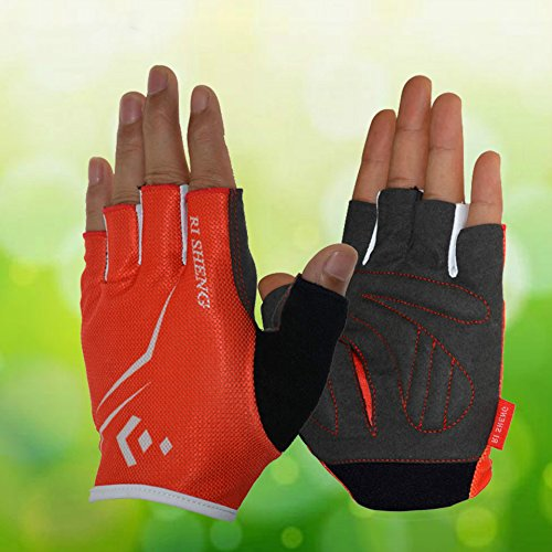 RI SHENG Breathable Cycling Glove Men Women Sports Bike Bicycle Cycling Short Half Finger Gloves (Random: Size Color)