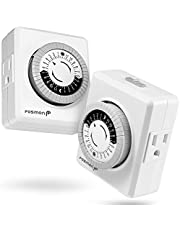 Fosmon Indoor 24 Hour Mechanical Outlet Timer [ETL Listed], Programmable Plug-in Timer with 2-Outlet for Lamp, Christmas String Lights, Grow Light, Aquarium, 3-Prong, Grounded, 2 Pack