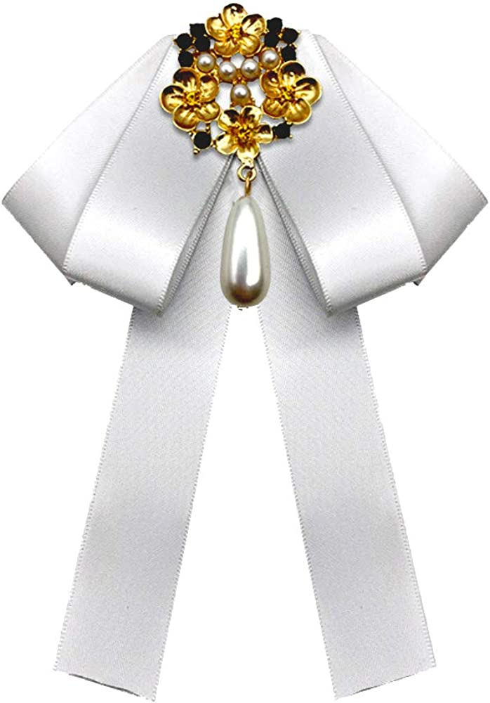 Pearl Bow Brooch Neck Tie Solid color Bow Tie for Party (White)