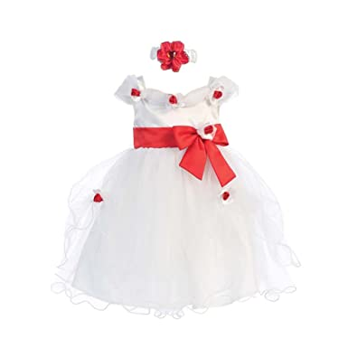 Amazon shanil baby girls white red flower bow tulle neckband shanil baby girls white red flower bow tulle neckband easter flower girl dress 12m mightylinksfo