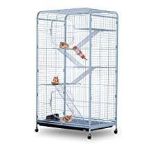 """PawHut 55"""" Pet Cage Portable Cat Rabbit Bunny House 2 Doors Steel Exercise Playpen with Wheels White"""