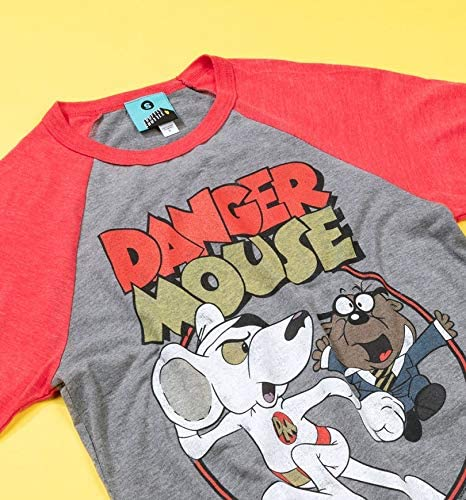 Danger Mouse Ready for Action Grey and Red Raglan Baseball T Shirt