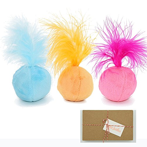 PetJollies Interactive Catnip Cat Toys Ball Plush Cat Toy with Feathers and Bell Inside for Kitten in Gift Box by (Pack of 3) Feather Ball Cat Toy