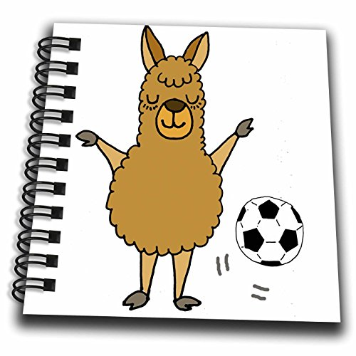fan products of 3dRose All Smiles Art Sports and Hobbies - Cute Funny Llama Playing Soccer Cartoon - Mini Notepad 4 x 4 inch (db_275811_3)