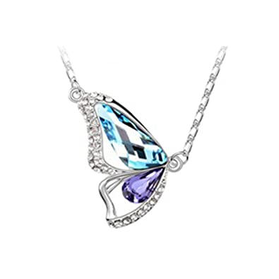 Habors 18K White Gold Plated Blue & Purple Austrian Crystal Butterfly Pendant Women's Pendants at amazon