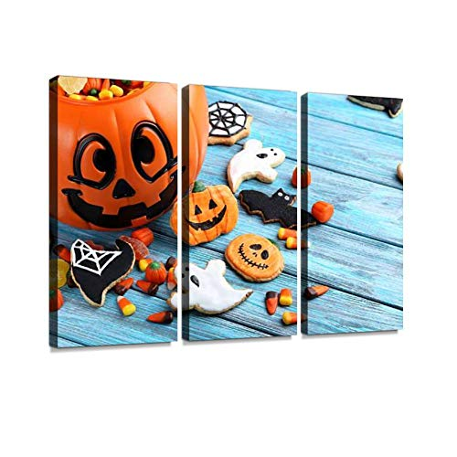 BELISIIS Fresh Halloween Gingerbread Cookies on Blue Wooden Table Wall Artwork Exclusive Photography Vintage Abstract Paintings Print on Canvas Home Decor Wall Art 3 Panels Framed Ready to Hang]()