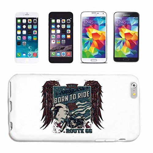 "cas de téléphone iPhone 6+ Plus ""BORN TO RIDE AMERICAN ROUTE 66 SHIRT BIKER MOTO CHOPPER MOTO GOTHIQUE SKULL MOTO CLUB BIKE ROUTE 66"" Hard Case Cover Téléphone Covers Smart Cover pour Apple iPhone en"