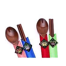 Wooden Spoons Chopsticks Gift Set, Handmade Korean High Quality Wood, Collectible Oriental Style Colorful Tableware Dinning Utensils Set Korea