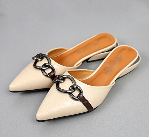 Baotou hembra silvestre señaló zapatos planos de las sandalias meters white