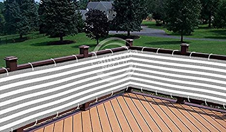 Grey / White Striped Deluxe Outdoor Privacy Screen Mesh Net For Deck
